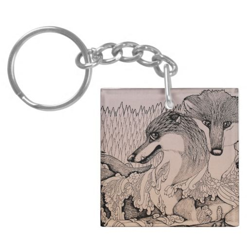"""Snaggletooth"" Black and white illustrated fox couple Keychain"