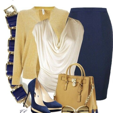 Tan sweater, cream top, with blue pencil skirt.