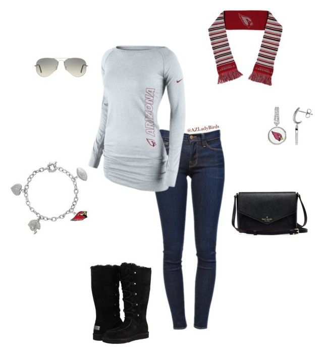 First Down by arizonaladybirds on Polyvore Arizona Cardinals Gameday Outfit #BirdGang #AZLadyBirds featuring Frame Denim, UGG Australia, Ray-Ban and NIKE