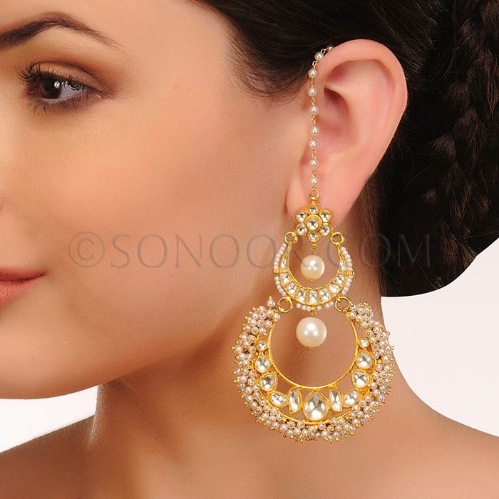EAR/1/3430 Earrings in gold finish studded with kundan and pearl droplet 	 $118	 £70