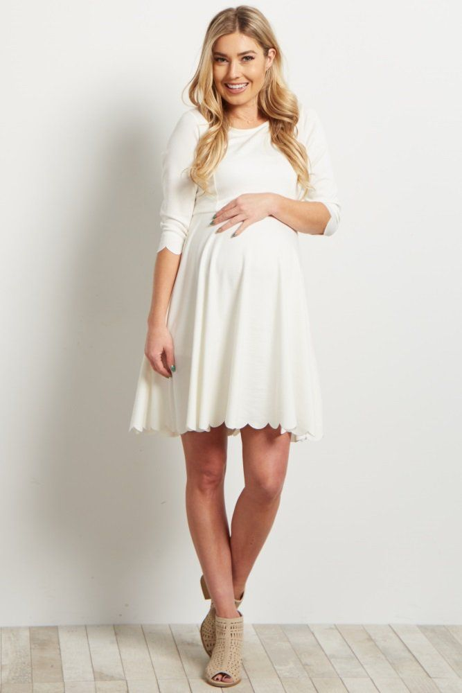 5132c40025d Ivory Solid Scalloped Hem Maternity Dress