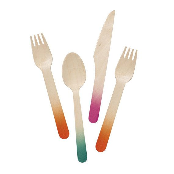 For tropical summer parties use bright colourful wooden cutlery. Cutlery are made from birch and harvested from a sustainable source and all dipped dyed in bright tropical colours.   Colour: Multi Info: Set of 18 More Info: 6 knives, 6 forks, 6 spoons Materials: Birch Any questions please drop me a line.