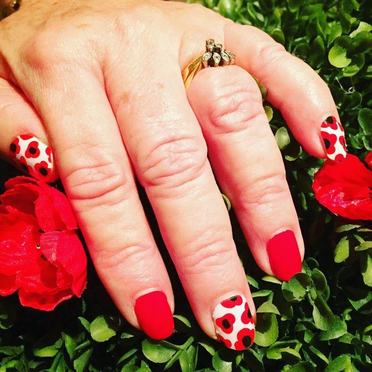 "Poppy's for ANZAC Day. ""Red Poppy"" available at nickystone.jamberry.com  #jamberry #nails #beauty #redpoppyjn"