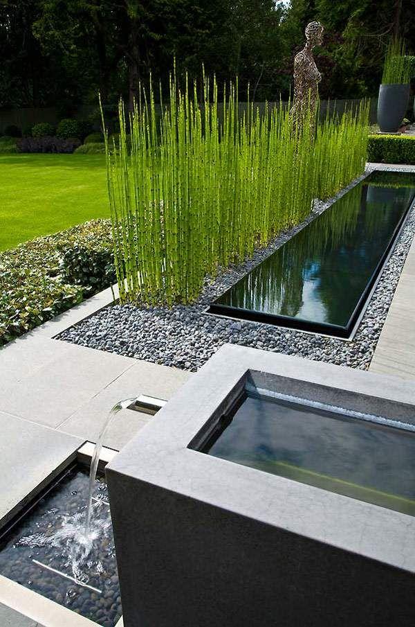 aménagement ultramoderne: pièce-d'eau et herbes déco