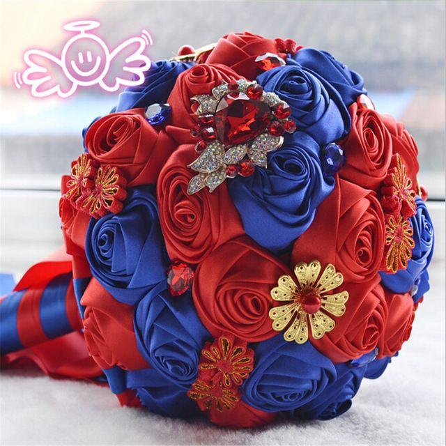 Великолепный Китайский Стиль Свадебные Цветы Свадебные Букеты Красный Искусственный Свадебный Букет Кристалл Блеск С Жемчугом buque де noiva