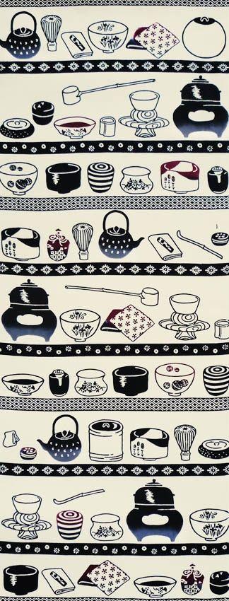 """大豆生田, """"Chadogu"""" tenugui Japanese tea set tools motif...茶道(さどう・ちゃどう)とは、湯を沸かし、茶を点て、茶を 振る舞う行為のこと。 そんな茶道を行う上で必要な様々な茶道具たち。 お釜、鉄瓶、茶筅、茶杓、水指、建水、茶入、棗、貴人台、茶巾、柄杓、 蓋置き、袱紗、小袱紗、香合、懐紙、茶碗。きちんと並んで 出番を待ちます。"""