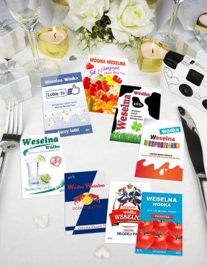 Zestaw zabawnych, nietypowych etykiet na wódkę weselną, które z pewnością wywołają uśmiech na twarzach gości :)