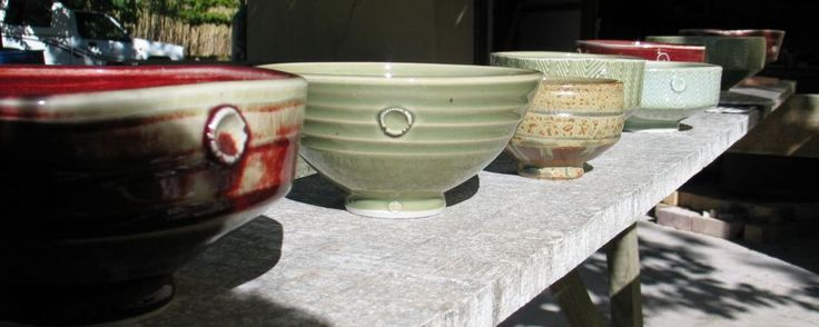 Reduction fired pots in the sun