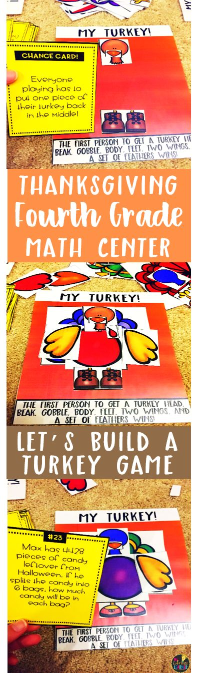 Thanksgiving Fourth Grade Math Center: Build A Turkey: Division Word Problems, 3 Digit by 1 Digit, 4 Digit by 1 Digit: No Remainders Game Students get to build a turkey while playing a math game at the same time! This games helps fourth graders practice solving division word problems with no remainders. Each time they answer a question, they get to add part of their turkey to their place mat. The first person to build their entire turkey wins the game! 24 question cards and answer key…