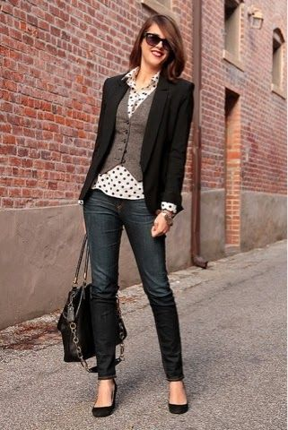 Black blazer, grey waist coat, Polka shirt, jeans and nudes for fall