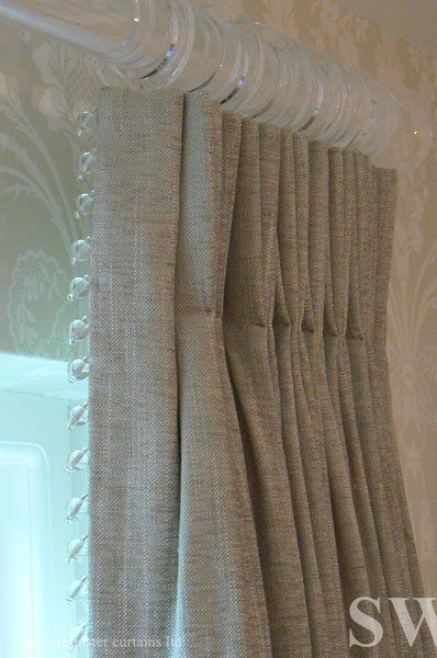 Love the bead trim and linen fabric together, a natural material with a touch of glamour