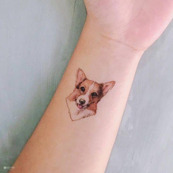 LAZY DUO Watercolor Tattoos corgi tattoo small Dog Temporary Tattoo puppy tattoo tatouage de chien tiny tattoos minimal tattoos puppy Tattoo