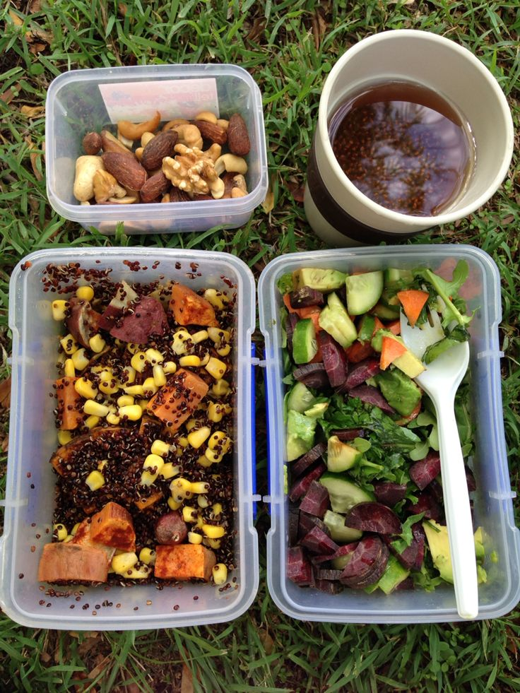 Lunch on the go -1tbsp chia seeds in peppermint and rose hip tea -2oz mixed nuts -6oz pumpkin fennel and corn with... -3oz sweet potato & black quinoa -6oz salad: kale, rocket, cucumber, orange and purple carrot, black garlic and avocado   -1 tbsp almond oil        -1tbsp apple cider vinegar