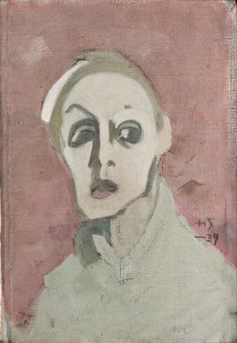 Helene Schjerfbeck (Finnish, 1862-1946  Self portrait with black mouth, 1939, 39.5 x 28cm, Oil on Canvas, Didrichsens Konstmuseum, Helsinki  Photo: Jussi Pakkala  link