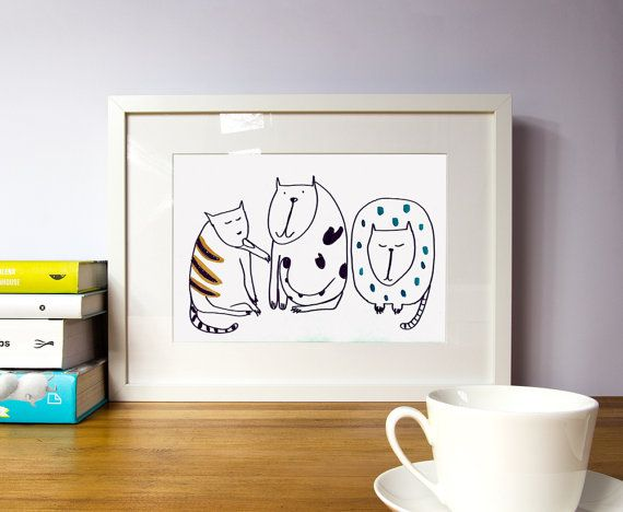 Cat wall art for nurseryFramed nursery artWall art by illustation