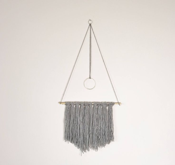 Grey Boho Style Wall Hanging. Gift Idea. Home Decor. Wall Decor. Wool Art. Yarn Hanging. Wall Art. Scandinavian style. Bedroom decor. by BlushedCreationsXOXO on Etsy