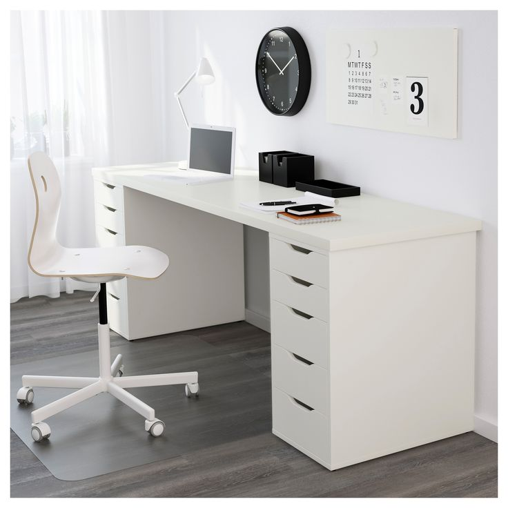 IKEA - LINNMON, Table top, white, , A long table top makes it easy to create a work space for two.Pre-drilled leg holes for easy assembly.