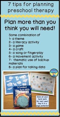 Preschoolers can sure tire you out! Get some ideas for planning therapy sessions that keep little ones busy!