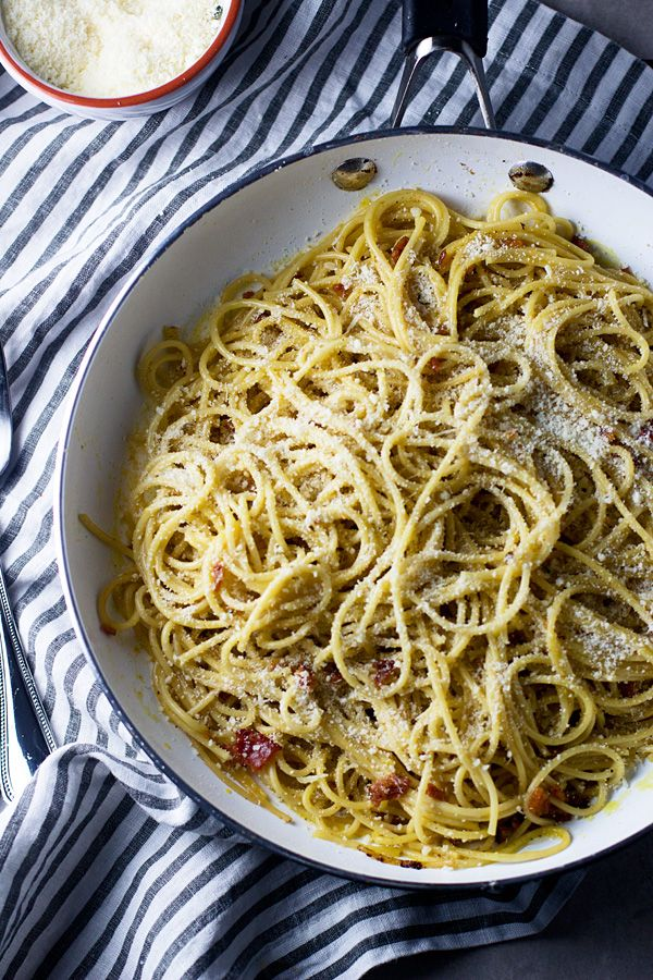 Looking for a date-night dinner you and your partner can cook together? Try this spaghetti carbonara: it's rich and filling– perfect for winter nights in! This recipe was originally featured on Cooking For Keeps and written by Nicole Shoemaker, who is part of POPSUGAR Select Food.
