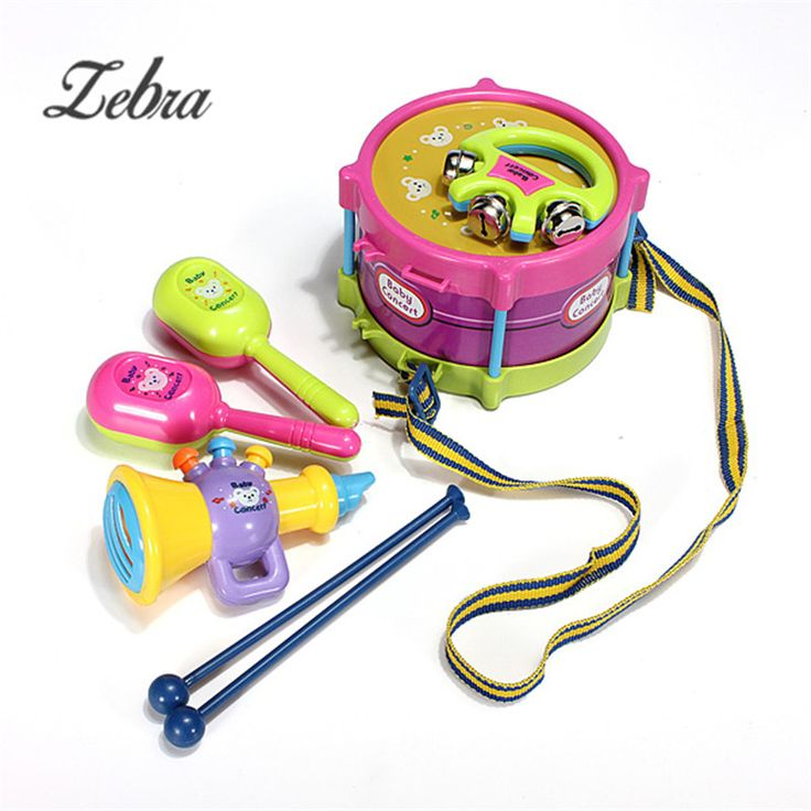 Hot Sale 5pcs/set Baby Kids Roll Drum Musical Instruments Kit Toy Set Plastic Educational Playing Fun Toys For Children Gift