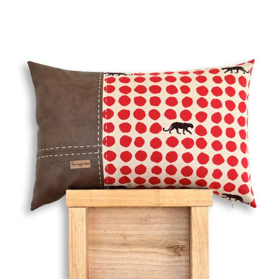 Panther 3 Panel Cushion Cover in Red. Echino Panther cotton &