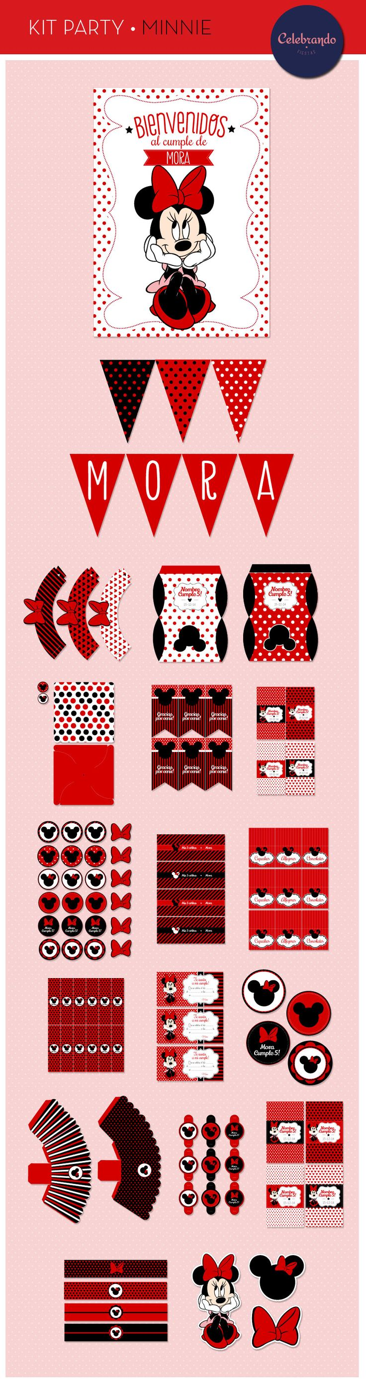 Kit imprimible Minnie Mouse - Celebrando Fiestas