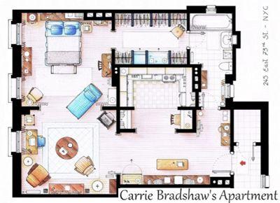 Carrie Bradshaw's Apartment--Floor Plans to Your Favorite TV Shows--Inaki Aliste Lizarralde's Fictional Floor Plans
