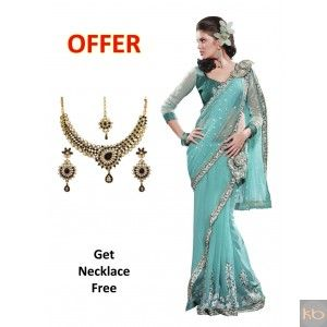 Net and Shimmer Georgette Saree in Sky Blue₹1,677