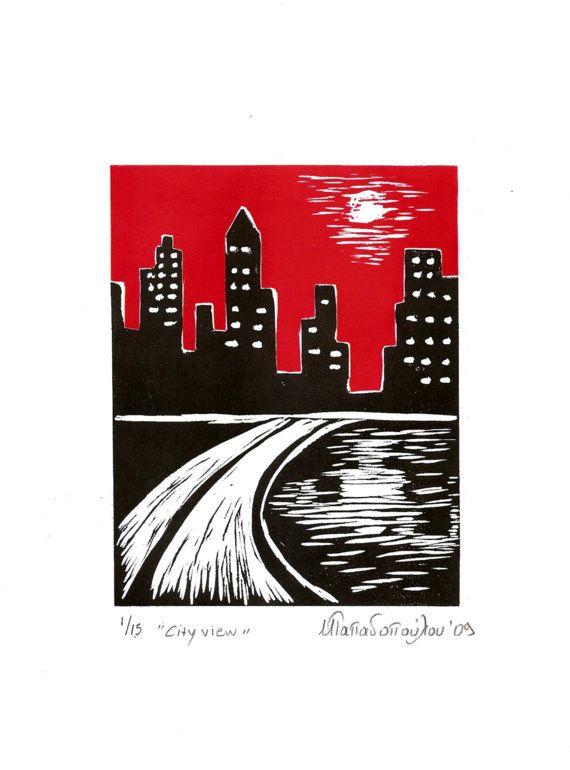 City view,Original engraving 21x29cm