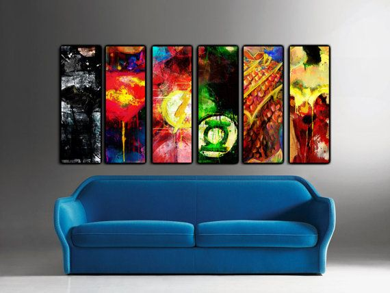 "CHOOSE ANY 4 Justice League 12"" x 36 x 1 1/2"" Canvas Prints: Batman, Wonder Woman, Green Lantern, Superman, the Flash and Aquaman."