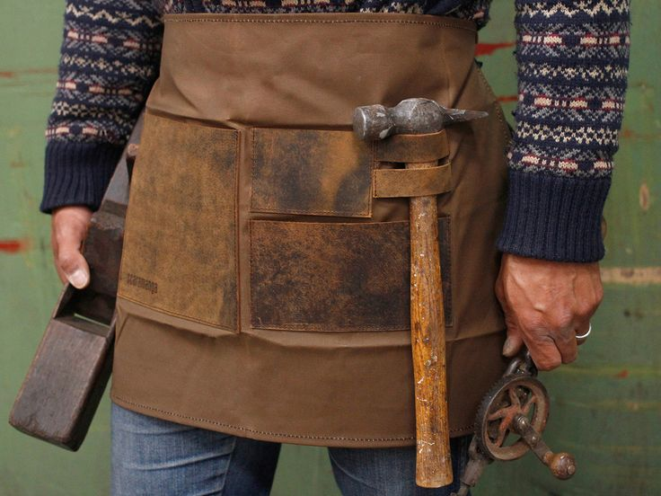 Handmade leather and canvas apron styled after traditional craftsmen aprons