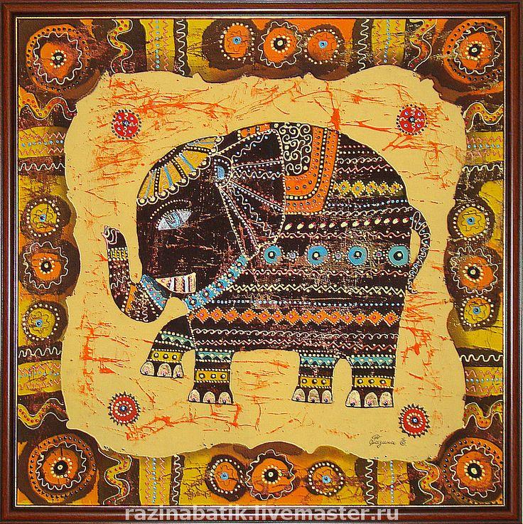 Купить Индийский слон - слон, этно, индия, картина, Батик, жёлтый, оранжевый, слоник, счастье