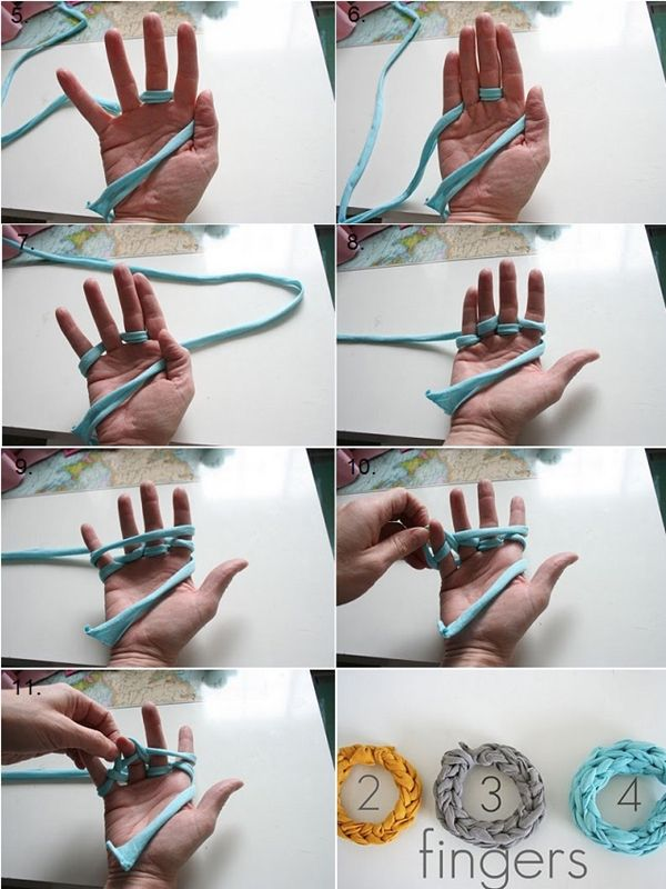 DIY Finger Knitted Bracelet From Jersey T-shirt #diy #crafts