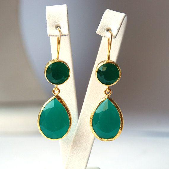 Angelina Jolie French Style Green Drop Earrings