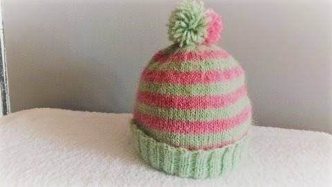 Pink and Green Children's hat Natural fiber Wooly hat.