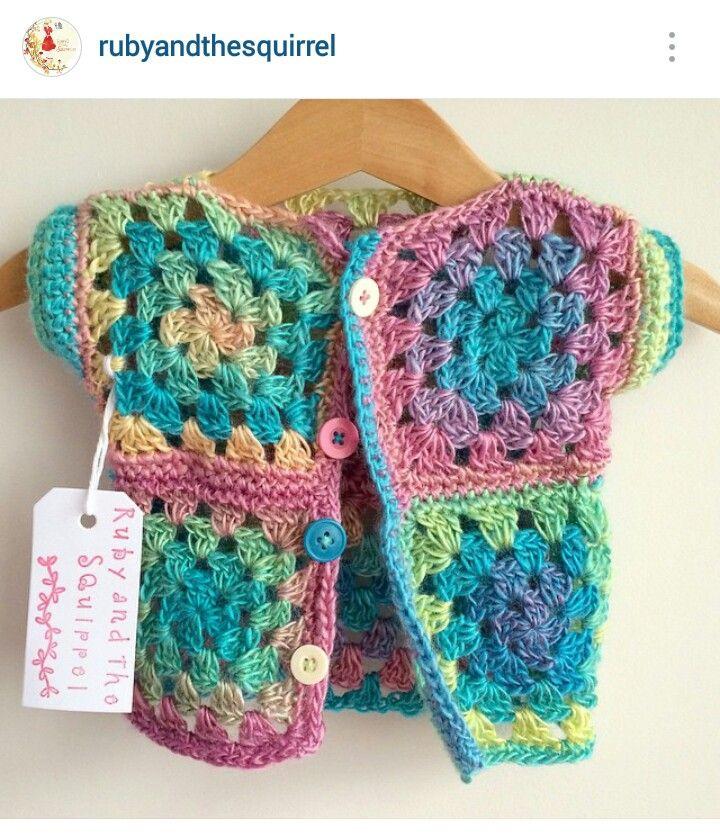 Instagram @rubyandthesquirrel - crochet baby girl rose granny stitch motif cardi