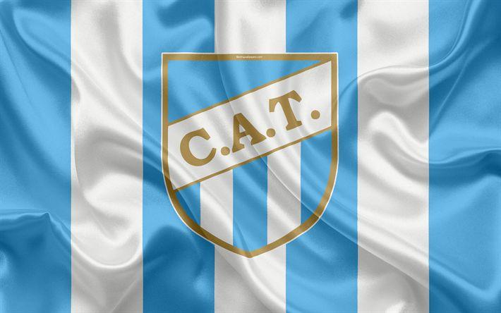 Download wallpapers Atletico Tucuman, 4k, Argentinian football club, emblem, logo, Superliga, Argentina Football Championship, football, San Miguel de Tucuman, Argentina, silk texture