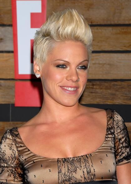 Singer Pink, seen here arriving at the EMA & E! Golden Green After Party, knows how to wear a short spiked 'do well.