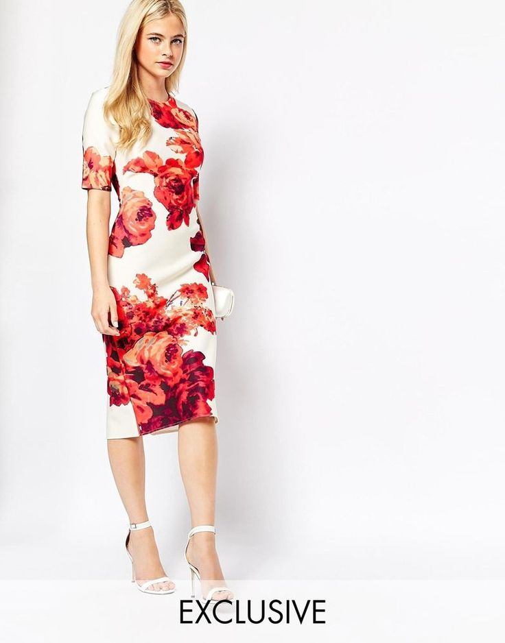 True Violet All Over Floral Print Bodycon Scuba Pencil Midi Dress UK 14 - US 10