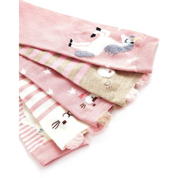 SheIn(sheinside) Animal Print Socks 5pairs (11 CAD) ❤ liked on Polyvore featuring intimates, hosiery, socks, animal socks, preppy socks, pink socks and animal print socks