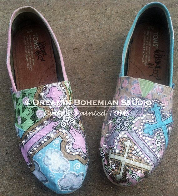 Hand Painted TOMS Beautiful Crosses pastels silver and gold with BLiNg TOMS included on Etsy, $195.00