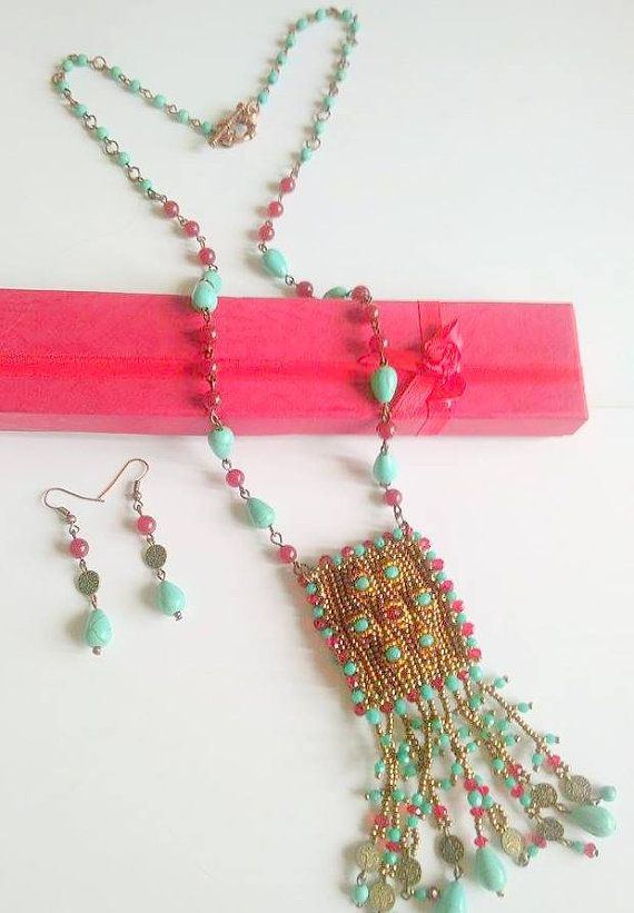 Christmas Sale-Ethnic Long Necklace-Beadwork by SERMINCEJEWERLY