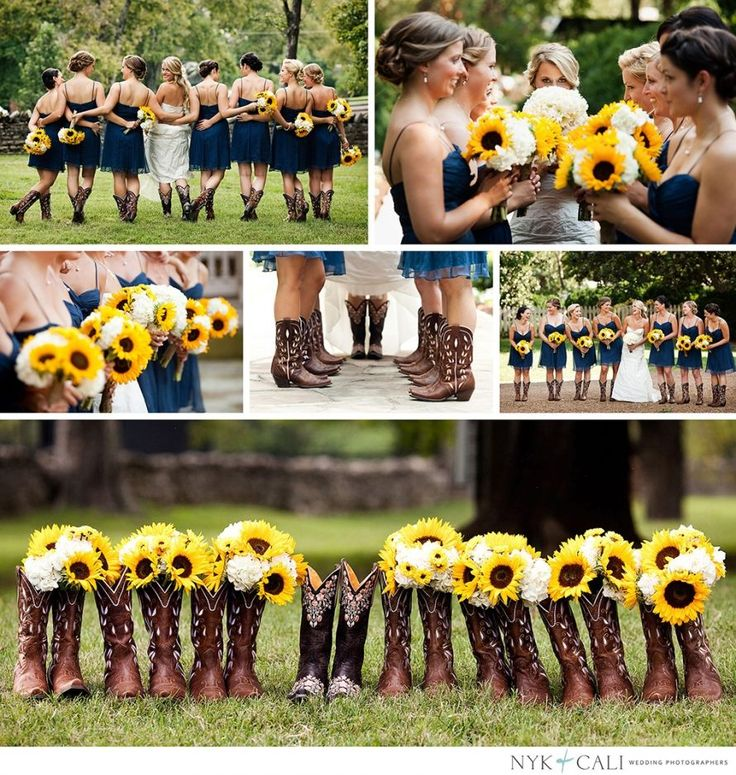 Sunflowers and Cowboy boots from Nashville Wedding Photography ~We love this!  Sunflowers are a great way to add cheer to any wedding bouquet!