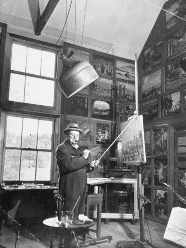 Prime Minister Winston Churchill Painting in His Studio Premium Photographic Print at AllPosters.com