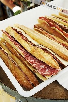 Salami and Cheese on Baguettes; Paris France Street Food photo