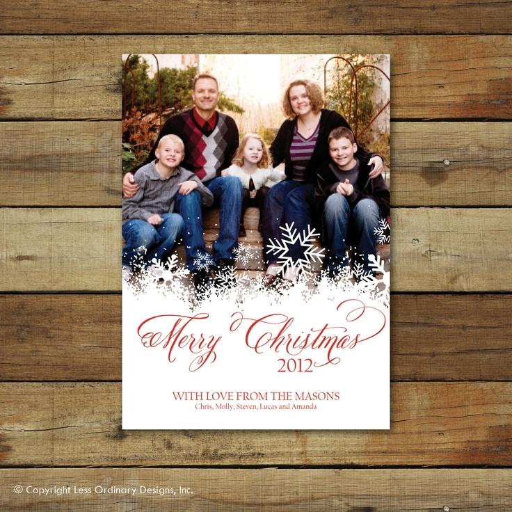 Christmas snowflake Christmas card or holiday card, photo card. $15.00, via Etsy.