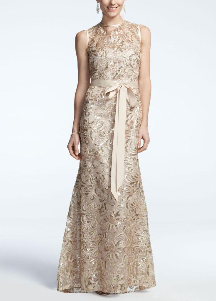 Sleeveless Long Sequined Lace Dress - David's Bridal
