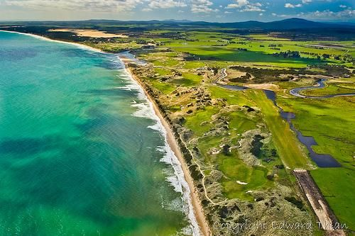 Aerial View of Barnbougle Dunes and Lost Farm in Bridport, Tasmania