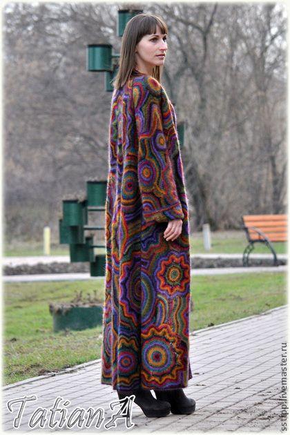 """Вязаное пальто """"Super Kaleidoscope"""" - вязаное пальто,пальто,авторская ручная работа"""