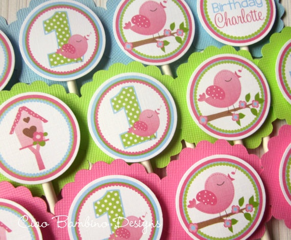 Tweet Birdy Cupcake Toppers - the theme we are doing for Ella & Olivia's 1st birthday! Love!!